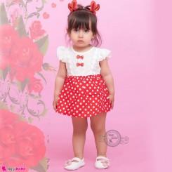 سارافون دخترانه نخ پنبه ای خالدار قرمز مارک BelQINiao