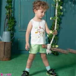 ست رکابی و شلوارک نخ پنبه ای بچگانه سبز میمون baby clothes set