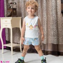 ست رکابی و شلوارک نخ پنبه ای بچگانه آبی میمون baby clothes set