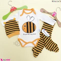 ست لباس زنبوری پنبه ای 3 تکه نسیکسز ترکیه Necix's baby clothes set