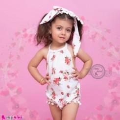 ست بادی فانتزی تل دار بچگانه طرح گل Baby bodysuits set