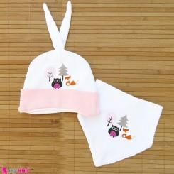 کلاه و دستمال گردن پنبه ای صورتی جغد و روباه Baby cotton hat and bib set
