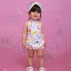 ست بادی فانتزی تل دار بچگانه طرح رنگی رنگی Baby bodysuits set