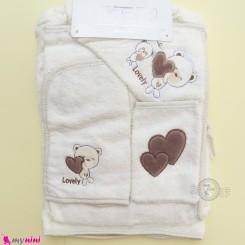ست حوله تن پوش نوزاد و کودک 6 تکه مارک آی استار شیری خرس Baby towel set