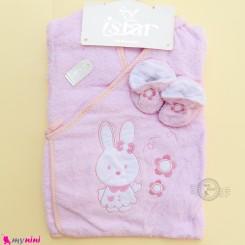 ست حوله تن پوش نوزاد و کودک 6 تکه مارک آی استار صورتی خرگوش Baby towel set