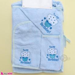 ست حوله تن پوش نوزاد و کودک 6 تکه مارک آی استار آبی کاپ کیک Baby towel set