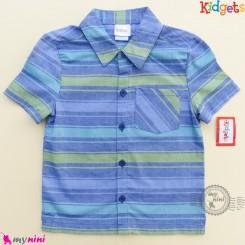 پیراهن پسرانه نخ پنبه ای مارک کیدگتز راه راه آبی سبز Kidgets baby clothes