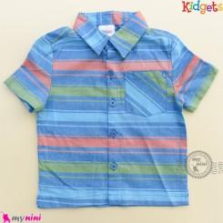 پیراهن پسرانه نخ پنبه ای مارک کیدگتز راه راه آبی نارنجی Kidgets baby clothes