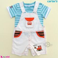 ست بیلرسوت کتان شیری نارنجی و تیشرت فیروزه ای مارک کارترز 2 تکه بولدوزر  Carter's 2-Piece Tee & Shortalls Set