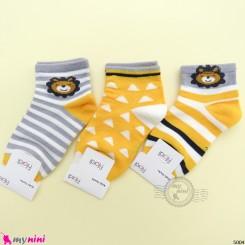 جوراب 3 عددی نخ پنبه ای بچگانه زردطوسی شیر مارک فیلاردی filardi Baby cotton socks