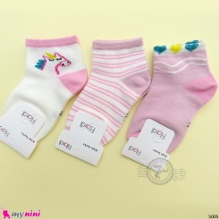 جوراب 3 عددی نخ پنبه ای بچگانه صورتی یونی کورن مارک فیلاردی filardi Baby cotton socks