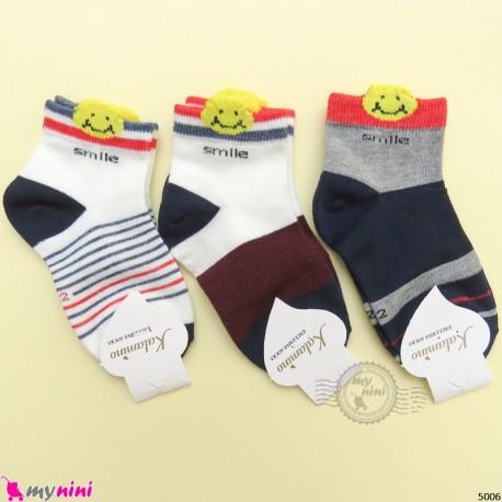 جوراب 3 عددی نخ پنبه ای بچگانه طرح اسمایل مارک فیلاردی filardi Baby cotton socks