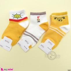جوراب 3 عددی نخ پنبه ای بچگانه زرد طوسی فاکس مارک فیلاردی filardi Baby cotton socks