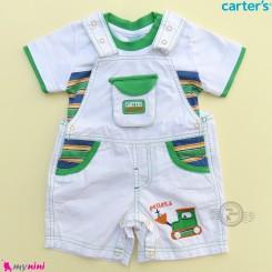 ست بیلرسوت کتان استخوانی سبز و تیشرت مارک کارترز 2 تکه بولدوزر  Carter's 2-Piece Tee & Shortalls Set