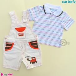 ست بیلرسوت کتان شیری نارنجی و تیشرت یقه دار مارک کارترز 2 تکه بولدوزر  Carter's 2-Piece Tee & Shortalls Set