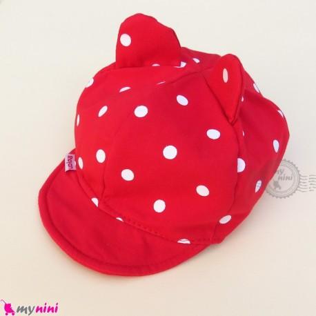 کلاه نقابدار بچه گانه قرمز گوش دار خالدار baby cotton cap