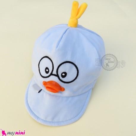 کلاه نقابدار بچه گانه آبی جوجه baby cotton cap