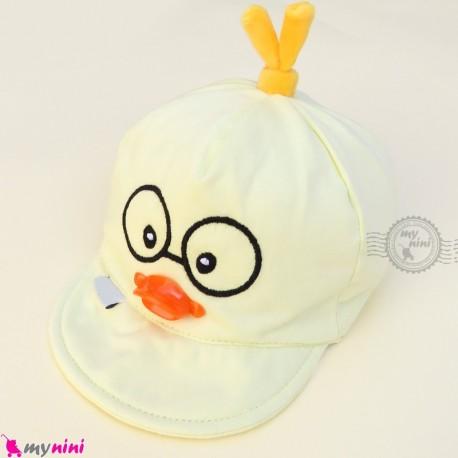 کلاه نقابدار بچه گانه لیمویی جوجه baby cotton cap