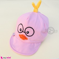 کلاه نقابدار بچه گانه صورتی جوجه baby cotton cap