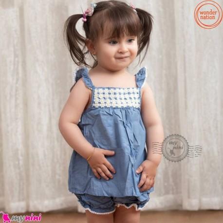 ست 2 تکه سارافون و شورت نخی طرح لی مارک اورجینال واندر نِیشِن wonder nation baby clothes