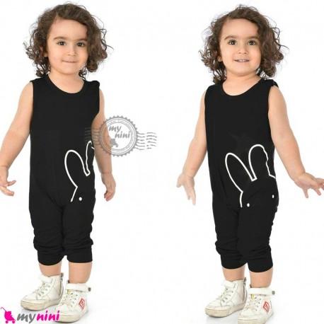 اورال بچگانه نخی مشکی خرگوش cotton baby overall
