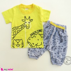ست تیشرت و شلوارک نخ پنبه ای بچگانه زرد زرافه baby clothes set