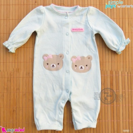 سرهمی نوزادی نخ پنبه ای مارک اورجینال سیمپل جویز کارترز سبز راه راه خرس simple joys baby cotton overall