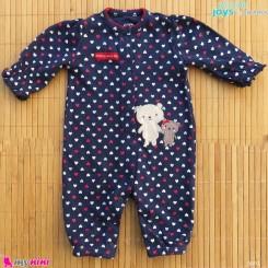 سرهمی نوزادی نخ پنبه ای مارک اورجینال سیمپل جویز کارترز سرمه ای قلبی خرس simple joys baby cotton overall