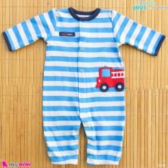 سرهمی نوزادی نخ پنبه ای مارک اورجینال سیمپل جویز کارترز آبی راه راه آتشنشانی simple joys baby cotton overall