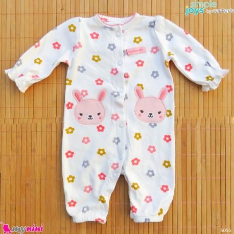 سرهمی نوزادی نخ پنبه ای مارک اورجینال سیمپل جویز کارترز شیری گل و خرگوش simple joys baby cotton overall