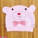 کلاه نوزاد کشی پنبه ای وارداتی صورتی خرس کارتونی Newborn cotton hat