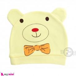 کلاه نوزاد کشی پنبه ای وارداتی لیمویی خرس کارتونی Newborn cotton hat