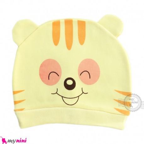 کلاه نوزاد کشی پنبه ای وارداتی لیمویی ببر Newborn cotton hat