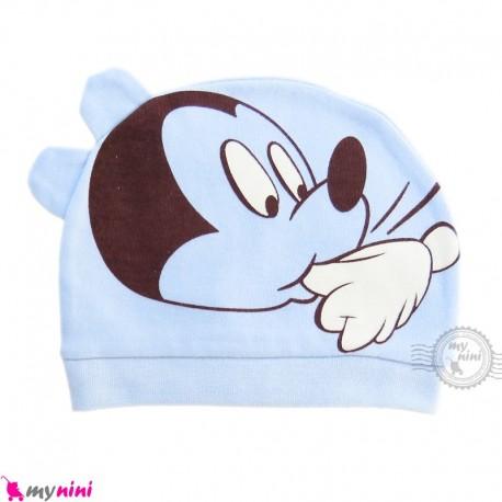 کلاه نوزاد کشی پنبه ای وارداتی آبی گوش دار میکی موس Newborn cotton hat