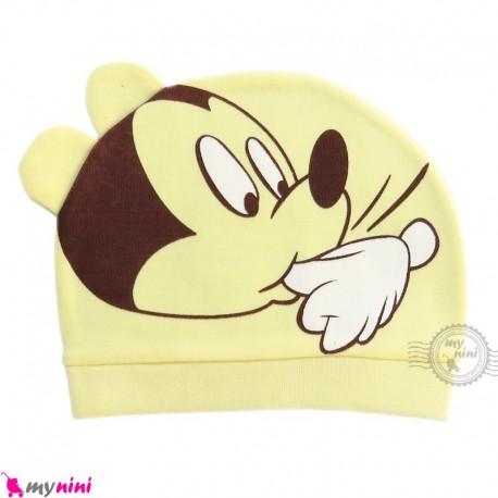 کلاه نوزاد کشی پنبه ای وارداتی لیمویی گوش دار میکی موس Newborn cotton hat