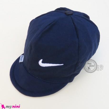 کلاه اسپرت نقابدار نوزاد و کودک 2 لایه سرمه ای نایک baby cotton cap
