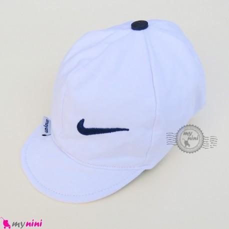 کلاه اسپرت نقابدار نوزاد و کودک 2 لایه سفید نایک baby cotton cap