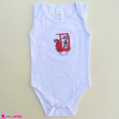 بادی رکابی نوزاد و کودک نخ پنبه ای سفید ماشین 6 تا 9 ماه مارک بیبی کلاب baby bodysuits