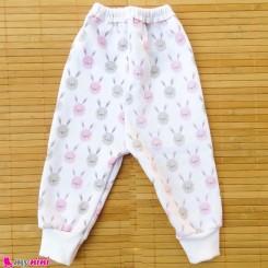 شلوار توکُرکی نوزاد و کودک دورس صورتی خرگوش Baby warm pants