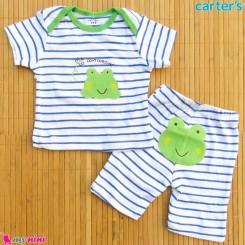 ست تیشرت و شلوارک کارترز نخ پنبه ای 6 تا 9 ماه قورباغه Carter's baby clothes set
