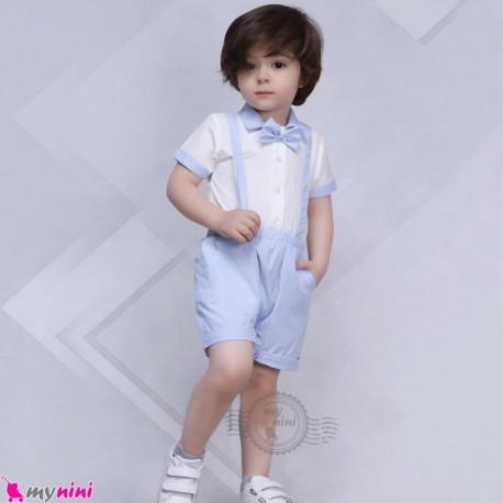 رامپر مجلسی طرح بندی نوزاد و کودک نخی آبی و سفید baby romper