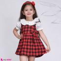 ست سارافون و شومیز دخترانه نخی طرح چهارخانه قرمز baby Bodysuit Dress & Cardigan Set