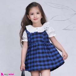 ست سارافون و شومیز دخترانه نخی طرح چهارخانه آبی baby Bodysuit Dress & Cardigan Set