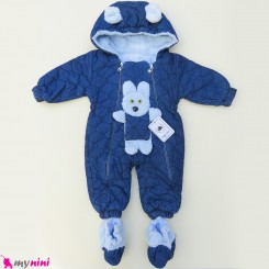 سرهمی کاپشنی لی پاپوش دار داخل خز نوزاد و کودک خرگوش baby warm jumpsuits