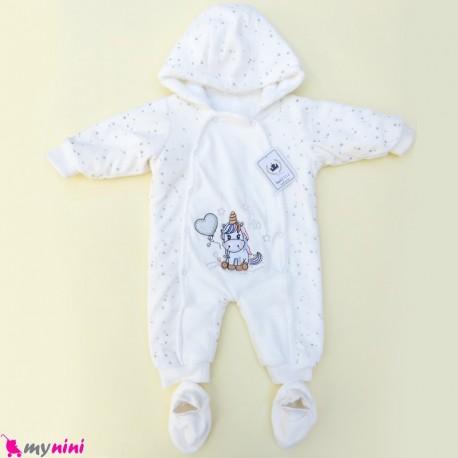 سرهمی کاپشنی پاپوش دار داخل خز نوزاد و کودک سفید یونی کورن baby warm jumpsuits
