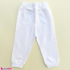 شلوار نخ پنبه مارک جونیورز سفید Juniors baby pants
