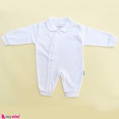 سرهمی نخ پنبه ای نوزاد و کودک مارک جونیورز سفید Juniors baby sleepsuit