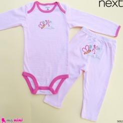 ست بادی آستین بلند و شلوار مارک نکست نخ پنبه ای راه راه صورتی پروانه Next baby clothes set