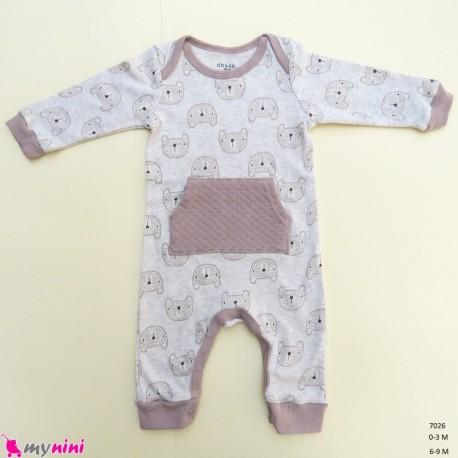 سرهمی نوزاد و کودک نخ پنبه ای مارک اورجینال چیک پی نسکافه ای خرس baby bodysuit