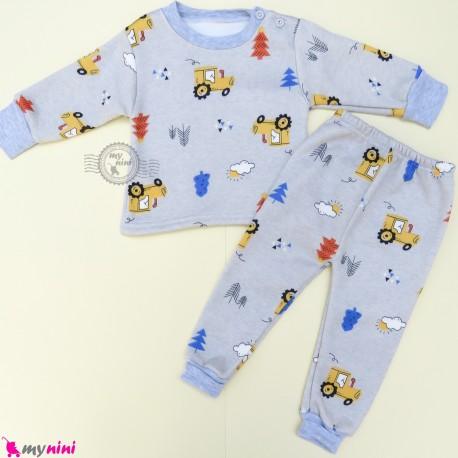 ست بلوز و شلوار گرم توکُرکی بچگانه طوسی مزرعه Baby warm clothes set